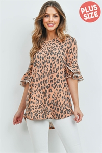 S10-1-3-PPT2148X-PCH - PLUS SIZE LOW GAUGE LACE DETAIL BELL SLEEVES LEOPARD TOP- PEACH 3-2-1