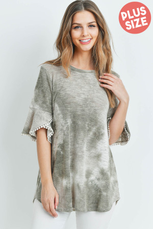 S11-11-2-PPT2149X-SGGYPCH - PLUS SIZE TIE DYE LACE DETAIL BELL SLEEVES LOW GAUGE TOP- SAGE/GREY/PEACH 3-2-1