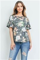 S14-7-1-PPT2150-BKMNT - SHORT RUFFLE SLEEVES CRISS CROSS NECK FLORAL TOP- BLACK/MINT 1-2-2-2