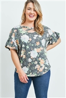 S9-20-1-PPT2150X-BKMNT-1 - PLUS SIZE SHORT RUFFLE SLEEVES CRISS CROSS NECK FLORAL TOP- BLACK/MINT 2-2-1