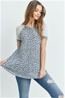 S10-3-4-PPT2152-DGYOTM - RAGLAN SLEEVES LEOPARD SWING TOP- DARK GREY/OATMEAL/OATMEAL 1-2-2-2