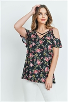 S11-16-2-PPT2155-BKRD - FLORAL COLD SHOULDER CRISS CROSS NECKLINE TOP- BLACK/RED 1-2-2-2