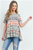S9-20-1-PPT2157-RSTOV-1 - SHORT SLEEVES TIE DYE RUFFLE HEM TOP- RUST/OLIVE 1-1-1