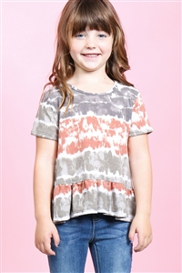 S10-18-2-PPT2157T-RSTOV-1 - TODDLER GIRLS SHORT SLEEVES TIE DYE RUFFLE HEM TOP- RUST/OLIVE 2-1-2