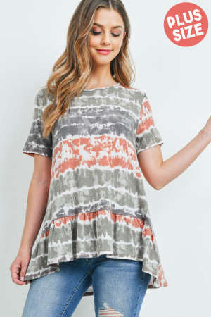 S12-12-4-PPT2157X-RSTOV - PLUS SIZE SHORT SLEEVES TIE DYE RUFFLE HEM TOP- RUST/OLIVE 3-2-1