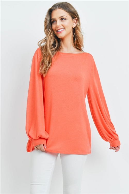 S10-20-1-PPT2158-CRL-1 - DOLMAN SLEEVES SOLID HACCI TOP- CORAL 2-2-2