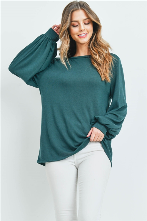 S10-20-1-PPT2158-HTGN-1 - DOLMAN SLEEVES SOLID HACCI TOP- HUNTER GREEN 2-2-2