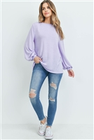 S7-3-4-PPT2158-LVDSL - DOLMAN SLEEVES SOLID HACCI TOP- LAVENDER SAIL 1-2-2-2