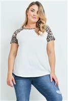 S14-10-2-PPT2159X-IVBWN - PLUS SIZE LEOPARD SLEEVE AND NECKBAND SOLID RIB TOP- IVORY/BROWN 3-2-1