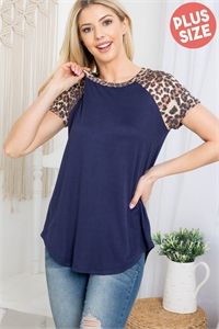 S14-3-1-PPT2159X-NVBWN - PLUS SIZE LEOPARD SLEEVE AND NECKBAND SOLID RIB TOP- NAVY/BROWN 3-2-1