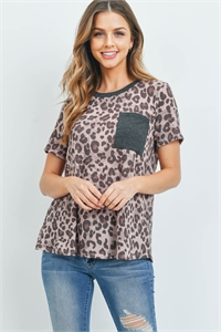 S8-13-3-PPT2161-BWNRSCHL -  LEOPARD RIB DETAIL POCKET TOP- BROWN-ROSE/CHARCOAL 1-2-2-2