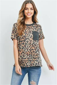 S8-11-2-PPT2161-MCTPCHL -  LEOPARD RIB DETAIL POCKET TOP- MOCHA-TAUPE/CHARCOAL 1-2-2-2