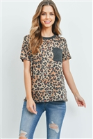 S10-14-3-PPT2161-MCTPCHL-1 -  LEOPARD RIB DETAIL POCKET TOP- MOCHA-TAUPE/CHARCOAL 1-2-2
