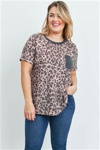 S9-4-4-PPT2161X-BWNRSCHL - PLUS SIZE LEOPARD RIB DETAIL POCKET TOP- BROWN/ROSE/CHARCOAL 3-2-1