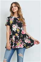 S15-11-2-PPT2162-BKCMB-1 - SHORT SLEEVES FLORAL CINCH WAIST SWING TOP- BLACK COMBO 1-1-2