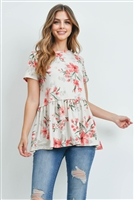 S15-11-2-PPT2162-IVCMB-1 - SHORT SLEEVES FLORAL CINCH WAIST SWING TOP- IVORY COMBO 2-2-2