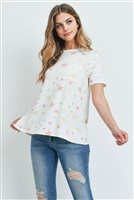 S13-9-4-PPT2163-OFWCMB - STAR PRINT SHORT SLEEVES ROUND NECK TOP- OFF-WHITE/COMBO 1-2-2-2