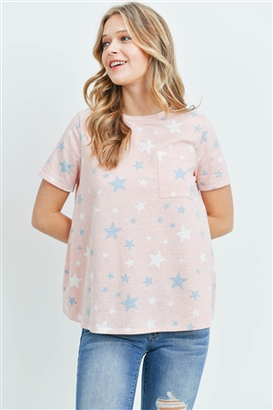 S13-8-2-PPT2163-PCHCMB - STAR PRINT SHORT SLEEVES ROUND NECK TOP- PEACH/COMBO 1-2-2-2