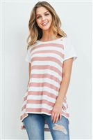 S4-3-3-PPT2167-CRLOFWTIV - RIB DETAIL NECKBAND AND SLEEVES STRIPES TOP- CORAL-OFF-WHITE/IVORY 1-2-2-2
