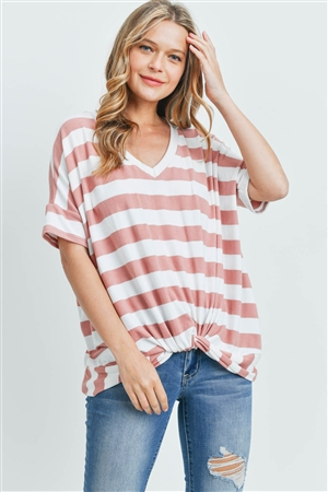 S12-1-2-PPT2168-CRLOFW - V-NECK DOLMAN SLEEVES STRIPE KNOT TOP- CORAL/OFF-WHITE 1-2-2-2