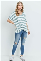 S15-11-5-PPT2168-SGOFW-1 - V-NECK DOLMAN SLEEVES STRIPE KNOT TOP- SAGE/OFF-WHITE 1-2