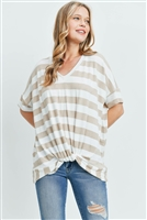 S12-1-2-PPT2168-TPOFW - V-NECK DOLMAN SLEEVES STRIPE KNOT TOP- TAUPE/OFF-WHITE 1-2-2-2