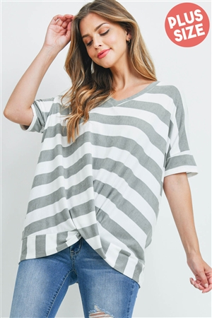 S5-10-2-PPT2168X-GYOFW - PLUS SIZE V-NECK STRIPES TWIST FRONT TOP- GREY/OFF-WHITE 3-2-1