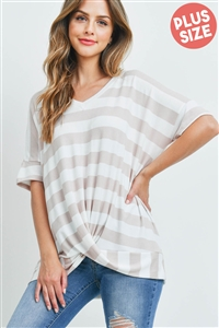 S5-10-2-PPT2168X-MVOFW - PLUS SIZE V-NECK STRIPES TWIST FRONT TOP- MAUVE/OFF-WHITE 3-2-1
