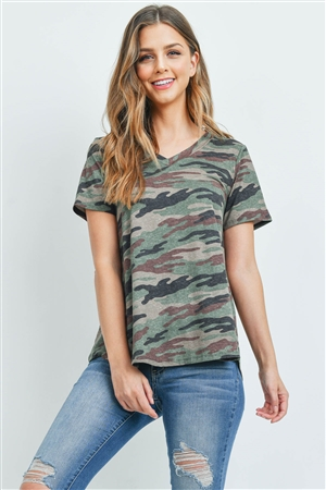 S10-20-3-PPT2172-ARGRBROWN-1 -SHORT SLEEVES V-NECK CAMOUFLAGE TOP-ARMY GREEN BROWN 2-2-2