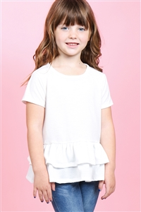 S10-16-1-PPT2175T-IV-1 - TODDLER GIRLS SHORT SLEEVES LAYERED RUFFLE HEM TOP- IVORY 2-2-2