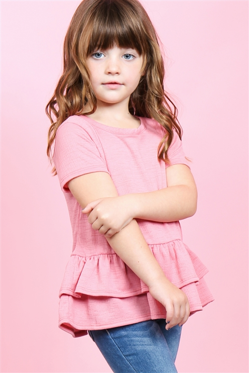 S10-16-1-PPT2175T-RS-1 - TODDLER GIRLS SHORT SLEEVES LAYERED RUFFLE HEM TOP- ROSE 2-2-1-2