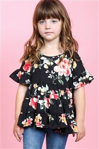 S15-8-2-PPT2177T-BK-1 - TODDLER GIRLS FLORAL RUFFLE SLEEVES AND HEM TOP- BLACK 1-2-2-1