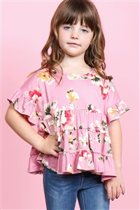 S15-8-2-PPT2177T-MV-1 - TODDLER GIRLS FLORAL RUFFLE SLEEVES AND HEM TOP- MAUVE 2