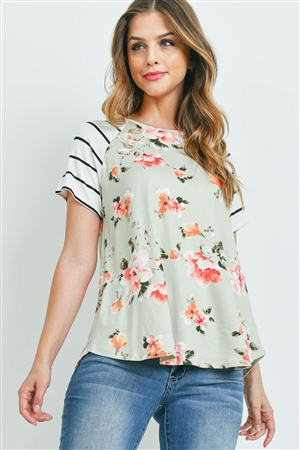 S9-16-1-PPT2180-SGIVBK-1 - STRIPE SLEEVES FLORAL PRINT TOP- SAGE/IVORY/BLACK 0-2-2-2