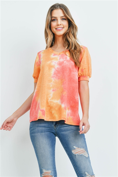 S16-10-3-PPT2182-CRL-1 - PUFF SLEEVES V-NECK TIE DYE TOP- CORAL 2-2-2