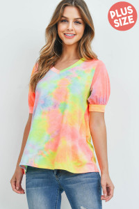 S12-12-3-PPT2182X-BLYWPK - PUFF SLEEVES V-NECK TIE DYE PLUS SIZE TOP- BLUE YELLOW PINK 3-2-1