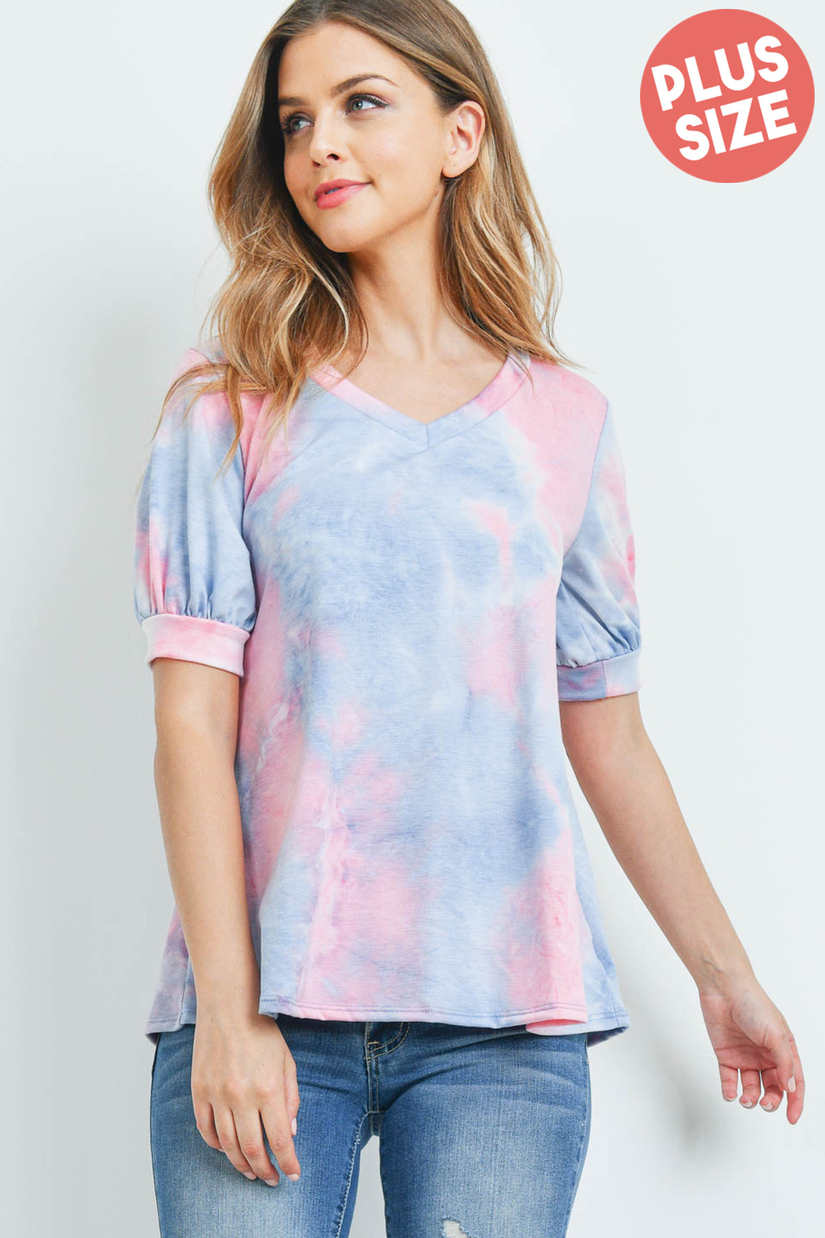 S12-12-3-PPT2182X-PKDNM - PUFF SLEEVES V-NECK TIE DYE PLUS SIZE TOP- PINK/DENIM 3-2-1