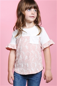 S17-12-3-PPT2183T-IVCRL-1 - TODDLER GIRLS RUFFLE SLEEVES ROUND NECK CREPE POCKET TOP- IVORY/CORAL 3-2-1-2