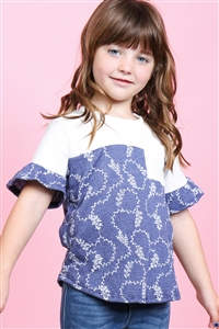 S17-12-3-PPT2183T-IVNV-1 - TODDLER GIRLS RUFFLE SLEEVES ROUND NECK CREPE POCKET TOP- IVORY/NAVY 3-2-1-2