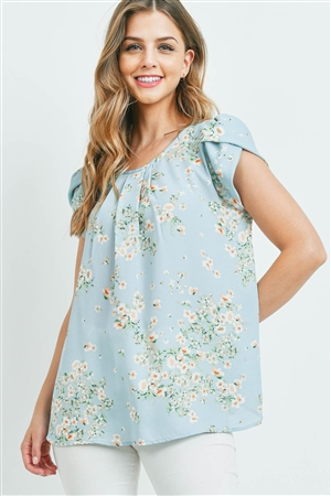 S15-11-2-PPT2184-BL-1 - PUFF SLEEVES FLORAL PLEATED TOP- BLUE 0-2-2-2