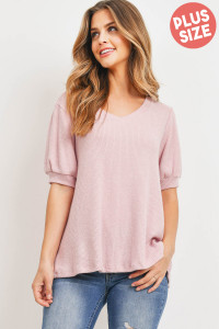 S4-1-2-PPT2185X-BLS -PLUS SIZE RIB DETAIL PUFF SLEEVES V-NECK TOP-BLUSH 3-2-1