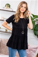 S16-5-1-PPT2188-BK - SHORT SLEEVES TIERED RUFFLE TOP- BLACK 1-2-2-2
