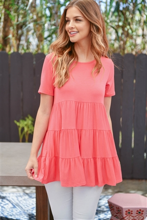 S14-11-3-PPT2188-CRL-1 - SHORT SLEEVES TIERED RUFFLE TOP- CORAL 1-2-1-2