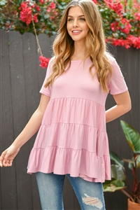 S11-11-3-PPT2188-DSTPK - SHORT SLEEVES TIERED RUFFLE TOP- DUSTY PINK 1-2-2-2