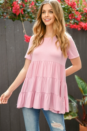 S14-11-3-PPT2188-DSTPK-1 - SHORT SLEEVES TIERED RUFFLE TOP- DUSTY PINK 1-2-2