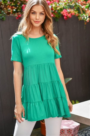 S12-9-1-PPT2188-KG - SHORT SLEEVES TIERED RUFFLE TOP- KELLY GREEN 1-2-2-2