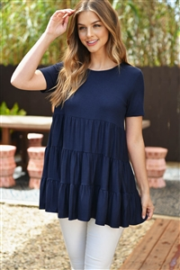S16-5-1-PPT2188-NV - SHORT SLEEVES TIERED RUFFLE TOP- NAVY 1-2-2-2