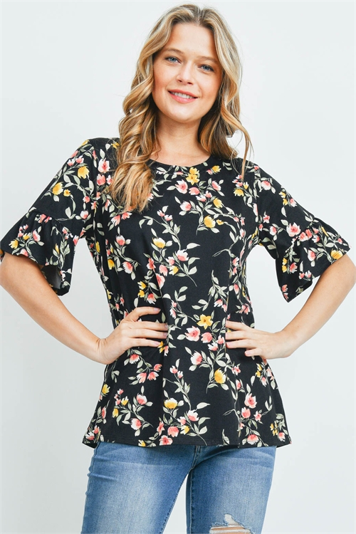 S13-10-1-PPT2189-BKCB - BELL SLEEVES ROUND NECK FLORAL TOP- BLACK COMBO 1-2-2-2