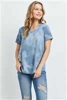 S9-16-1-PPT2190-TL-1 - TIE DYE SHORT SLEEVES V-NECK TOP- TEAL 2-2-2