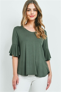 S14-7-1-PPT2191-AG-2 - BELL SLEEVES V-NECK ROUND HEM TOP- ARMY GREEN 0-2-1-1